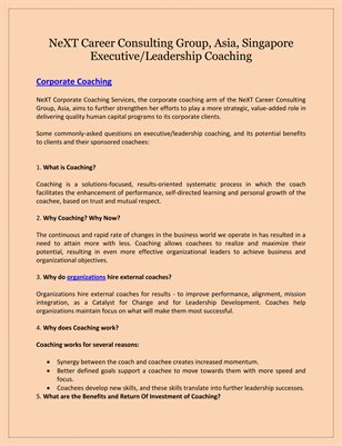 NeXT Career Consulting Group, Asia, Singapore: Executive/Leadership Coaching