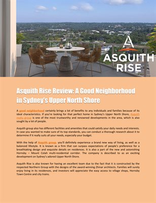 Asquith Rise Review: A Good Neighborhood in Sydney's Upper North Shore