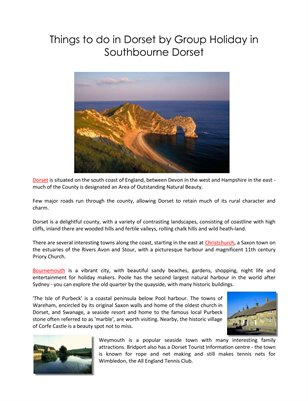 Things to do in Dorset by Group Holiday in Southbourne Dorset