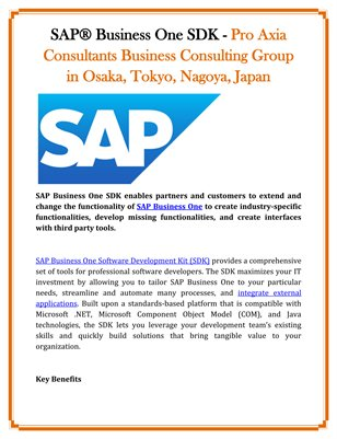 SAP® Business One SDK - Pro Axia Consultants Business Consulting Group in Osaka, Tokyo, Nagoya, Japan