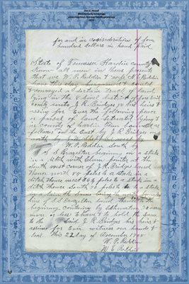 (PAGES 3-4) 1909 DEED W.P. REDDEN TO J.R. BRIDGES, HARDIN COUNTY, TENNESSEE