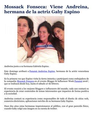 Mossack Fonseca: Viene Andreina, hermana de la actriz Gaby Espino