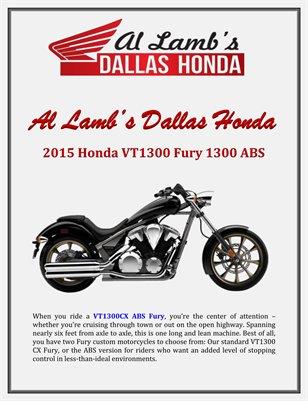 Al Lamb's Dallas Honda: 2015 Honda VT1300 Fury 1300 ABS