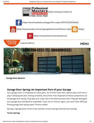 Pro-Master Garage door | Broken Garage Door Springs Repair Brampton