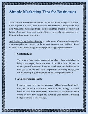 Simple Marketing Tips for Businesses
