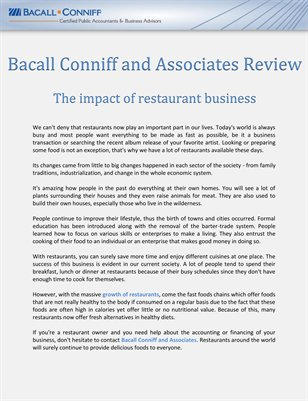 Bacall Conniff and Associates Review: The impact of restaurant business