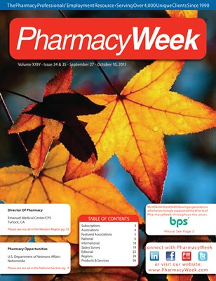 Pharmacy Week, Volume XXIV - Issue 34 & 35 - September 27 - October 10, 2015