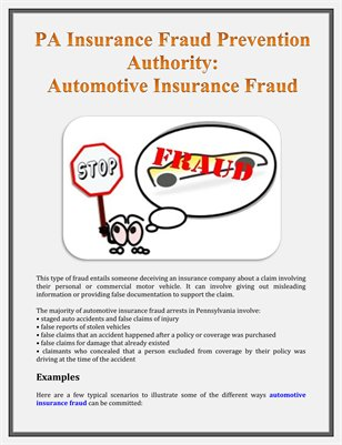 PA Insurance Fraud Prevention Authority: Automotive Insurance Fraud