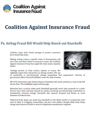 Coalition Against Insurance Fraud: Pa. Airbag-Fraud Bill Would Help Knock out Knockoffs