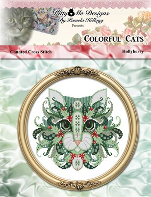 Colorful Cats Hollyberry Counted Cross Stitch Pattern