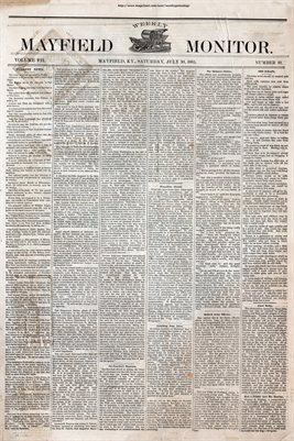 (PAGES 1-2) JULY 30, 1881 MAYFIELD MONITOR NEWSPAPER, MAYFIELD, GRAVES COUNTY, KENTUCKY