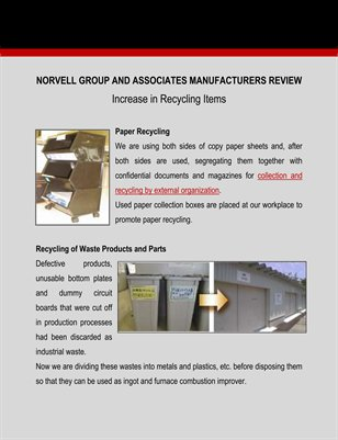Norvell Group and Associates Manufacturers Review on Increase in Recycling Items