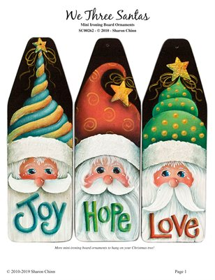 We Three Santas Ornaments Painting Pattern by Sharon Chinn