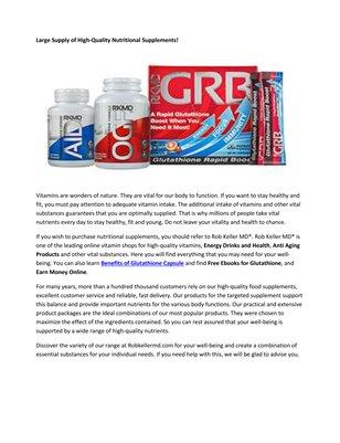 Benefits of Glutathione Supplement