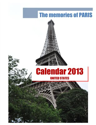Calendar 2013 USA, The memories of PARIS