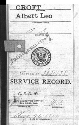 Leo Croft Navy Service Record 1919-1946