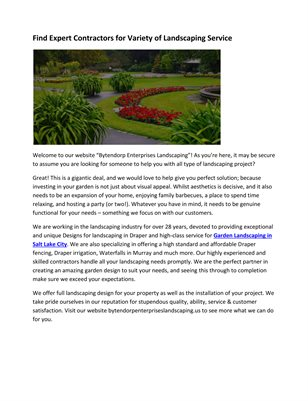 Find Expert Contractors for Variety of Landscaping Service