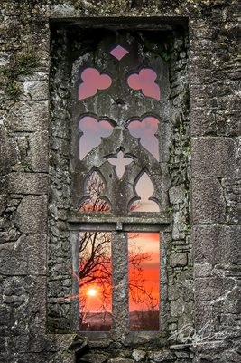 Clare Abbey Window at Sunrise, Poster