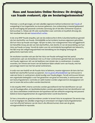 Hass and Associates Online Reviews: De dreiging van fraude evolueert; zijn uw besturingselementen?