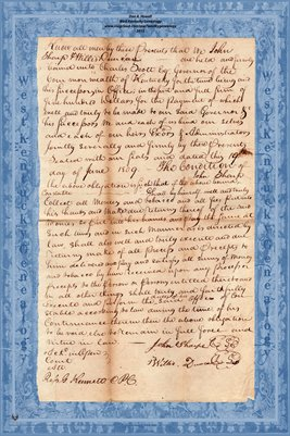 1809 John Sharp & Willis Duncan Tobacco Bond, Pendleton, Kentucky