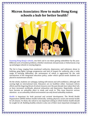 Micron Associates: How to make Hong Kong schools a hub for better health