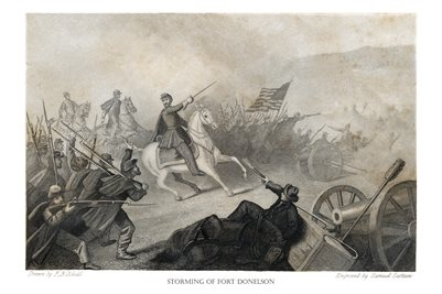 "1865 DRAWING OF ""THE STORMING OF FORT DONELSON"""