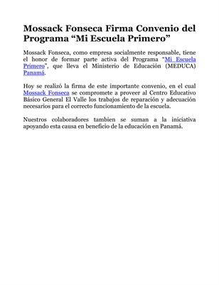"""Mossack Fonseca Firma Convenio del Programa """"Mi Escuela Primero"""""""