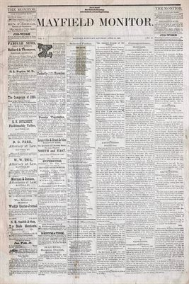 (PAGES 1-2) APRIL 10, 1880 MAYFIELD MONITOR