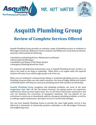 Asquith Plumbing Group: Review of Complete Services Offered