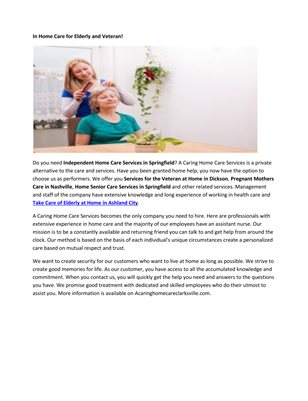 In Home Service Care Springfield