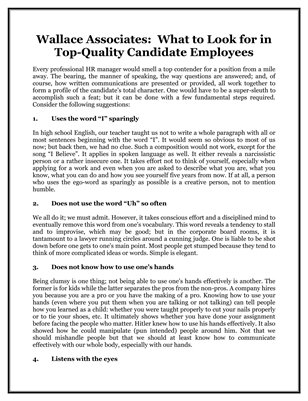Wallace Associates: What to Look for in Top-Quality Candidate Employees