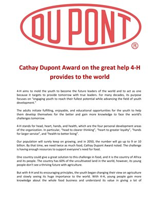 Cathay Dupont Award on the great help 4-H provides to the world