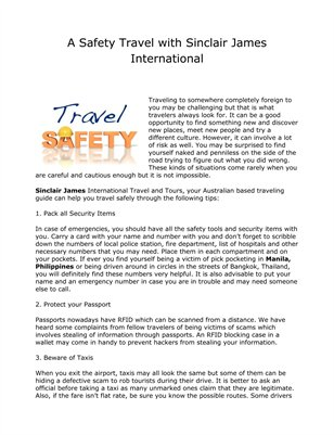 A Safety Travel with Sinclair James International
