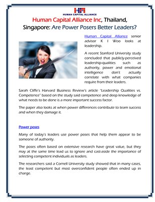 Human Capital Alliance Inc, Thailand, Singapore: Are Power Posers Better Leaders?