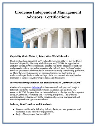 Credence Independent Management Advisors: Certifications