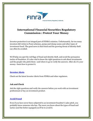 International Financial Securities Regulatory Commission : Protect Your Money
