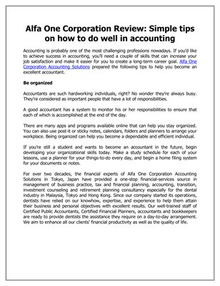 Alfa One Corporation Review: Simple tips on how to do well in accounting