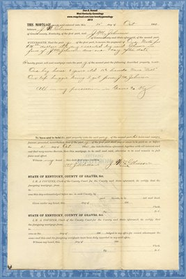 1900 Mortgage, J.W. Glisson to J.M. Johnson, Graves County, Kentucky