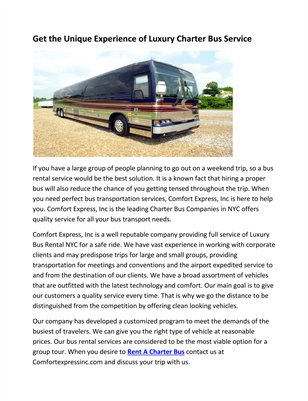 Get the Unique Experience of Luxury Charter Bus Service