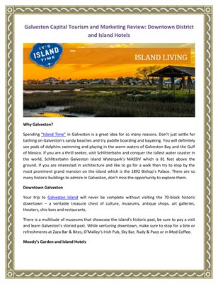 Galveston Capital Tourism and Marketing Review: Downtown District and Island Hotels