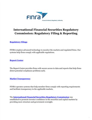International Financial Securities Regulatory Commission: Regulatory Filing & Reporting