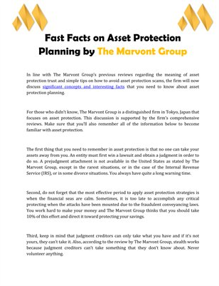 Fast Facts on Asset Protection Planning by The Marvont Group