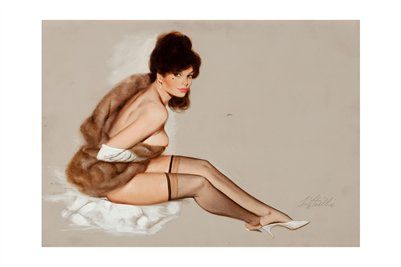 Nude in fur and stocking