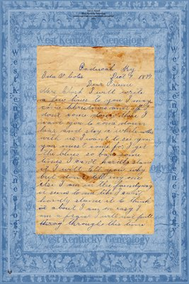 1897 Letter to Ida V. Coles, Paducah, McCracken County, Kentucky