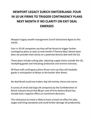 NEWPORT LEGACY ZURICH SWITZERLAND FOUR IN 10 UK FIRMS TO TRIGGER CONTINGENCY PLANS NEXT MONTH IF NO CLARITY ON EXIT DEAL EMERGES