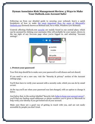 Dyman Associates Risk Management Review: 3 Ways to Make Your Outlook.com Account Safer