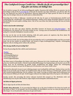 The Cathford Group Credit Inc : Skulle du få ett personligt lån? Tips för att hitta ett billigt lån