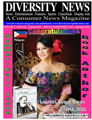 Diversity News Magazine Special Summer and Fall 2012 Print Edition Featuring Author Lourdes Duque Baron from Scripted In Heaven
