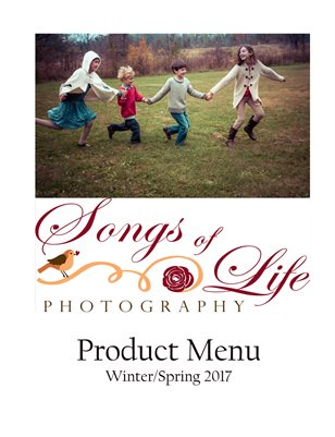 Songs of Life Photography Studio Pricing Menu