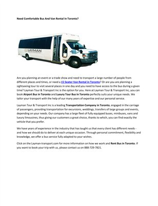 Traveling Buses Toronto